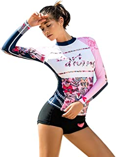 WoCoo Women Surfing Suit Rash Guard Long Sleeve UV Protection Cartoon Printed Swimsuit High Waist Diving Wetsuits