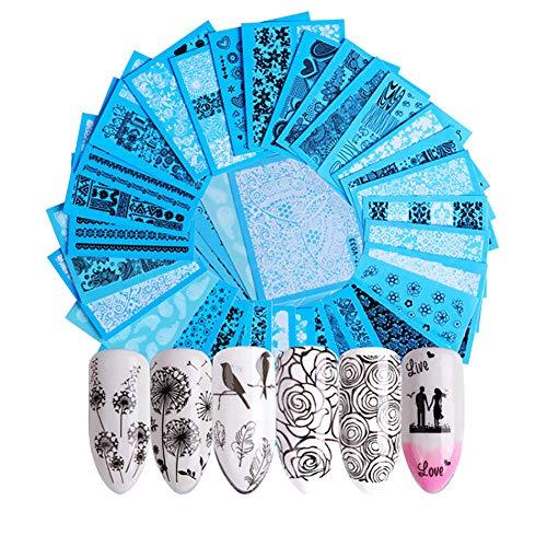 JUNGEN 48 hojas Pegatina de uñas con Patrón de flores de encaje negro blanco Pegatina de uñas de arte Apliques de uñas DIY para Uso profesional o familiar