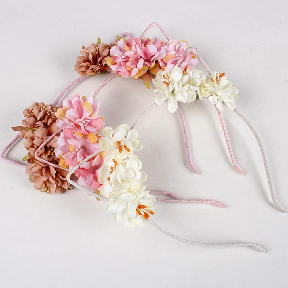 ACTLATI Flower Devil Cat Ears Headbands Party Fancy Dress Cosplay Costume Hair Hoop for Women Girls