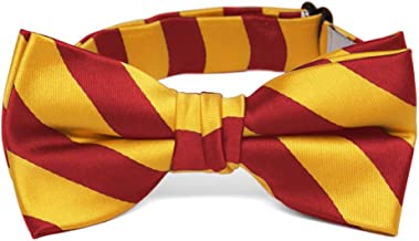 TieMart Boys' Red and Golden Yellow Striped Bow Tie