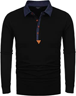 Men's Long Sleeve Polo Shirts Casual Slim Fit Lightweight Cotton T Shirts