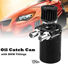 Ruien Polish Baffled Oil Catch Can Reservoir with Breather Filter for BMW Black 350ml