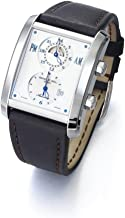 Raymond Weil Don Giovanni Mens Square 24-Hour Dual Time Zone Automatic Watch - Silver Face with Luminous Hands, Date and Sapphire Crystal - Swiss Made Black Leather Band GMT Watch 2888-STC-65001