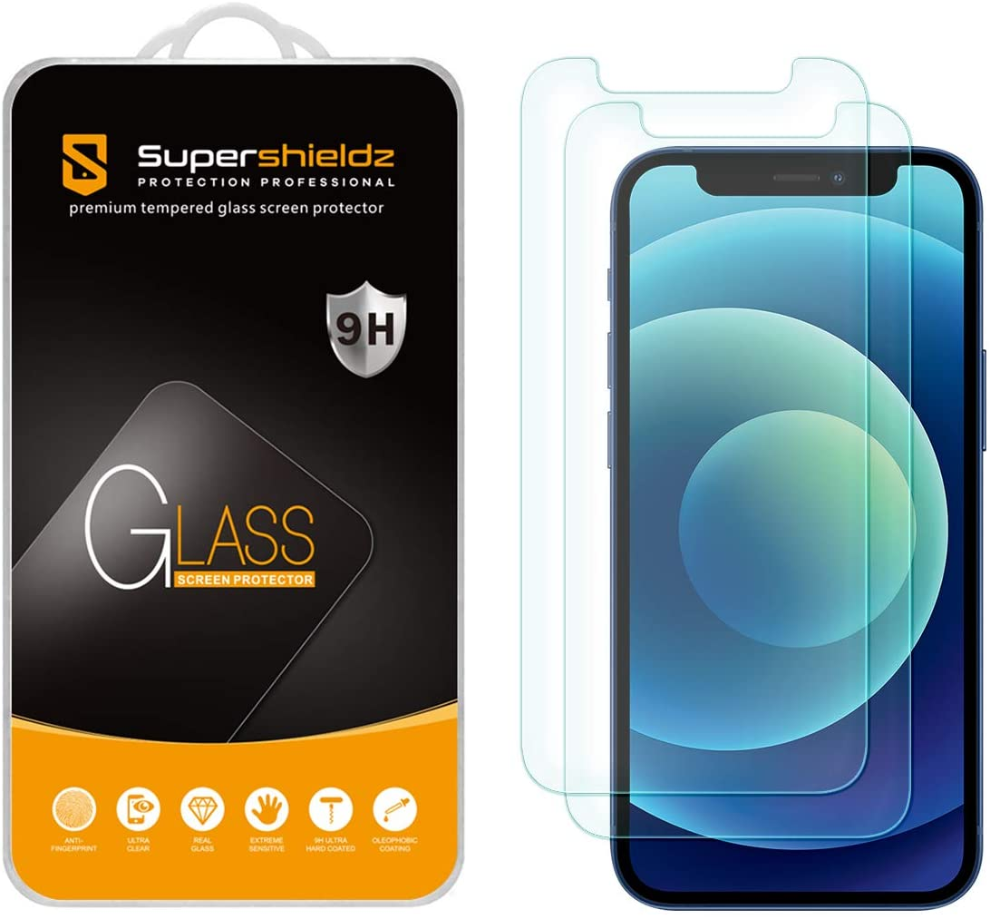 (2 Pack) Supershieldz Designed for iPhone 12 Mini (5.4 inch) Tempered Glass Screen Protector, Anti Scratch, Bubble Free