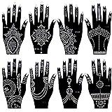 Xmasir Juego de 8 plantillas de tatuaje de henna india para mujeres y niñas, pintura corporal temporal para tatuajes de mano y niñas, 20 x 10,5 cm