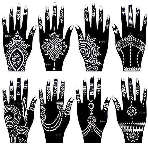 Amazon 8 Pieces India Henna Tattoo Stencil Set For Women Girls Hand Finger Body Paint Temporary Templates 20 X 105cm Office Products