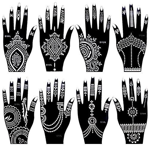 Xmasir - Juego de 8 plantillas de tatuaje de henna de la India para mujeres y niñas, pintura de dedos corporales, plantillas de tatuaje temporal, 20 x 10,5 cm