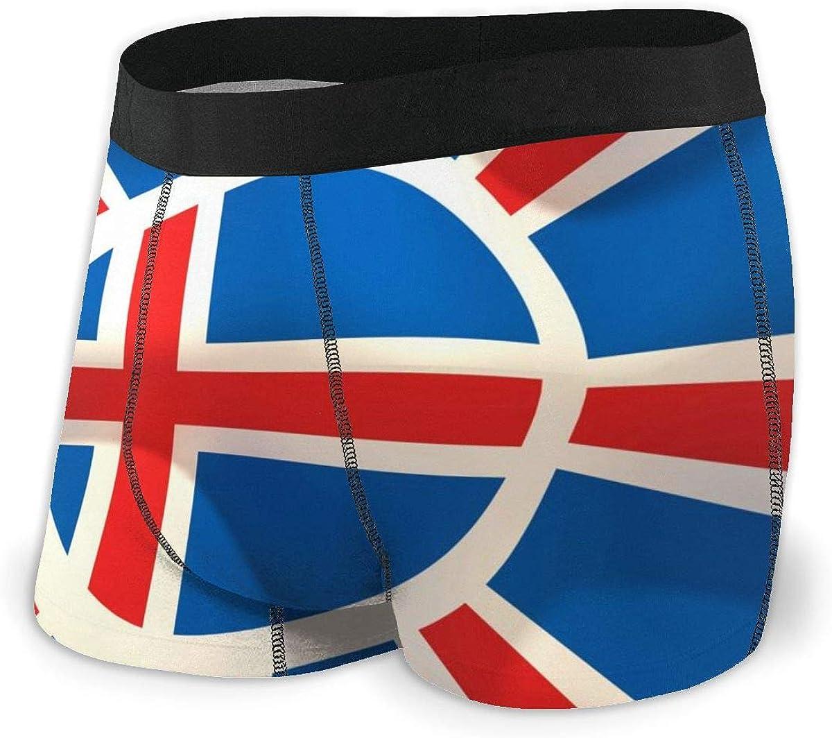 Mens Boxer Briefs Special Iceland National Flag Boys Trunks Underwear Short Leg Breathable Man