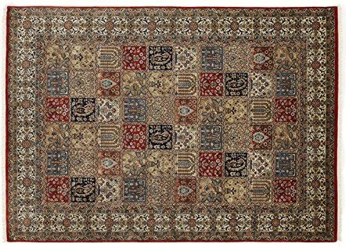 ROSHAN GHOM echter klassischer Orient-Felder-Teppich handgeknüpft in rot-beige, Größe: 60x90 cm