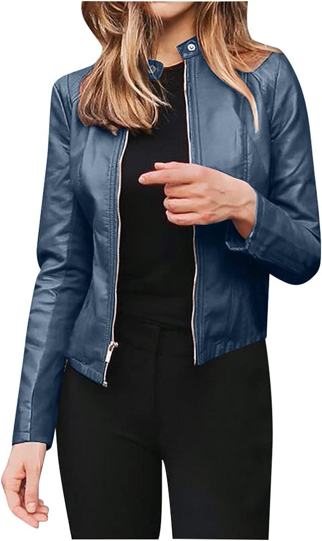 Women Faux Pu Leather Jacket Coat Casual Long Sleeve Zipper Up Cropped Jackets Open Front Short Cardigan Jacket Coat