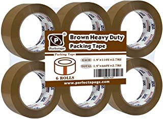 PERFECTAPE Heavy Duty Brown Packing Tape 6 Rolls, Total 660Y, 2.7 mil, 1.88 inch x 110 Yards, Ultra Strong, Refill for Packaging and Shipping