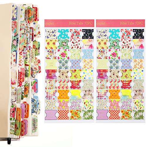 Decorative Bible Tabs, 66 Book Tabs, 6 Blank Tabs, Peel and Stick Laminated Bible Stickers Labels Bible Book Tabs Bible Faith Stickers, Totally 72 Pieces Bible Tabs