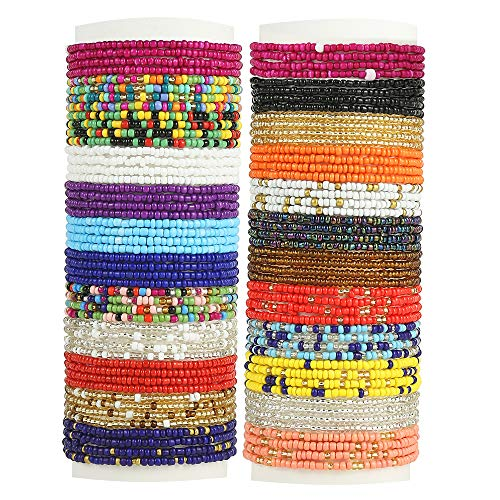 Taouzi 24 Pieces Waist Beads for Women Colorful Beaded Body Chain Elastic String Waist Chain Beach Bikini Belly Chains Summer Jewelry for Women Girls