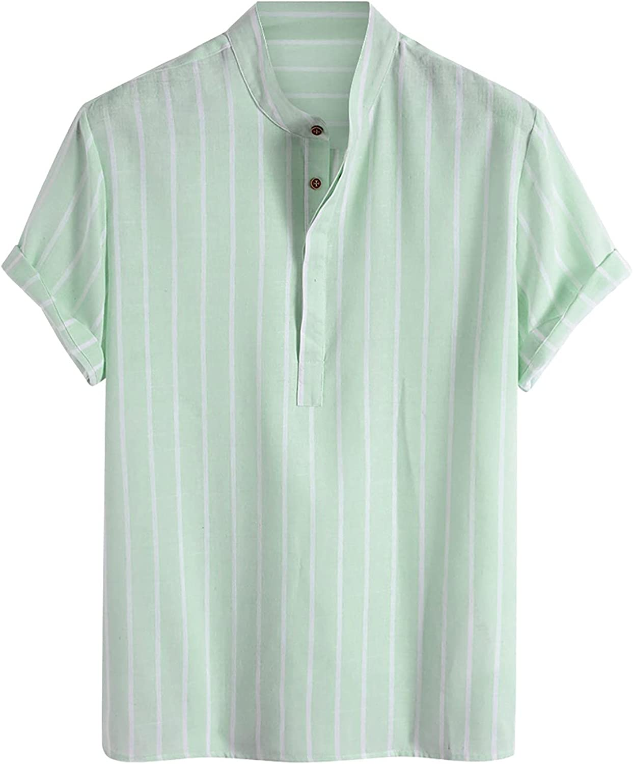 FUNEY Men's Vertical Striped Short Sleeve Shirts Fashion V Neck Hippie Shirts Vintage Business Henley Lapel Tees Casual Tops
