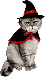 LAWOHO Pet Halloween Costume - Vampire Cloak for Holiday Cosplay Party Pet Apparel Suit Cute Kitten Puppy Cape Clothes Suitable for Small Cat Dog Parrots Red Black Decorations