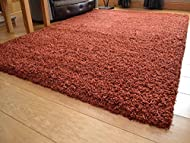 Soft Touch Shaggy Rust Thick Luxurious Soft 5cm Dense Pile Rug. Available in 7 Sizes (120cm x 170cm)