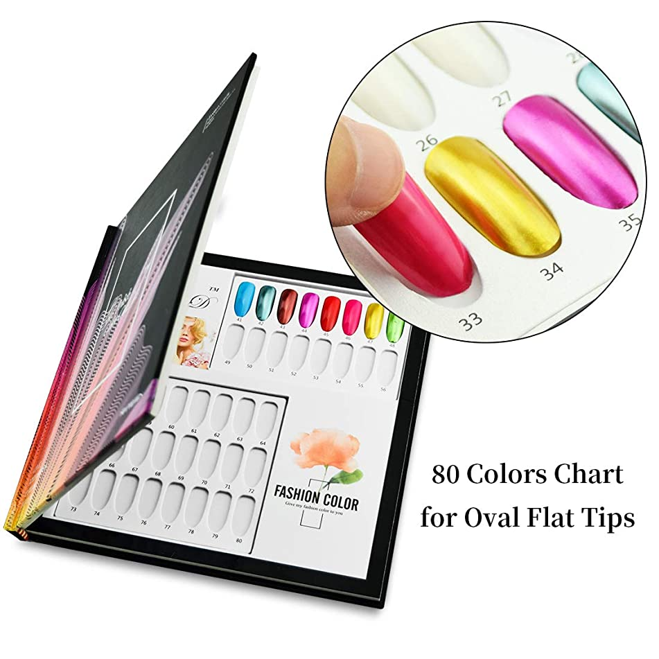 Pro 80 Colors Photo Album Oval Flat Tips Design Printed Pattern Nail Gel Polish Display Card Book Chart for Nail Art Salon, HJ-NDB026