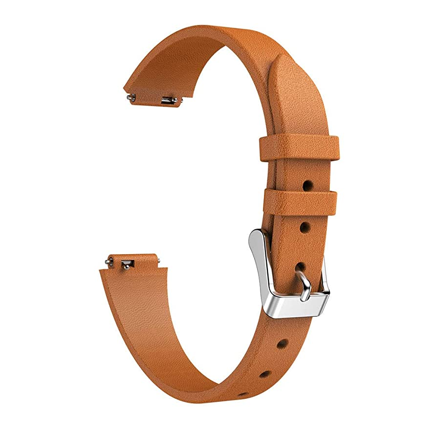 Fullwei Luxury Leather Bands Replacement Accessories Wristband Straps for Fitbit Inspire/Inspire HR - Soften (Brown)