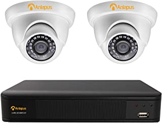 Anlapus 1080P Kit de Cámaras de Seguridad 4CH 2MP Videograbador con 2 Cámaras de Vigilancia Exterior sin Disco Duro Visión Nocturna Alarma de Movimiento