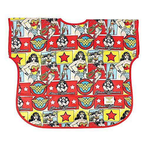 Bumkins Junior Bib / DC Comics Short Sleeve Toddler Bib / Smock 1-3 Years, Waterproof, Washable, Stain and Odor Resistant – Wonder WomanComic