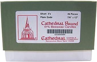 كاتدرائية كاندل كومباني 51% شمع العسل بأطراف سادة 4 شموع كنيسة كاتدرائية 4، 7/8 بوصة × 12 بوصة، صندوق به 24