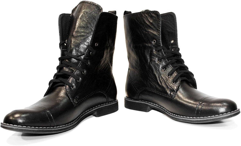 Peppeschuhe Modello Kamon - Handgemachtes Italienisch Bunte Herrenschuhe Lederschuhe Herren Schwarz Hohe Stiefel - Rindsleder Weiches Leder - Schnüren