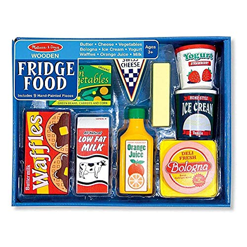 Melissa & Doug Wooden Fridge Food | Pretend Play | Play Food | 3+ | Gift for Boy or Girl