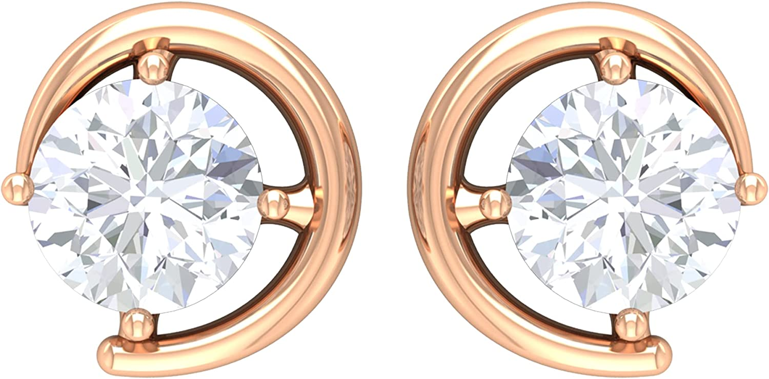 1 CT Round Cut Moissanite Simple Gold Stud Earrings (D-VSSI Quality),14K Solid Gold, Screw Back, Pair