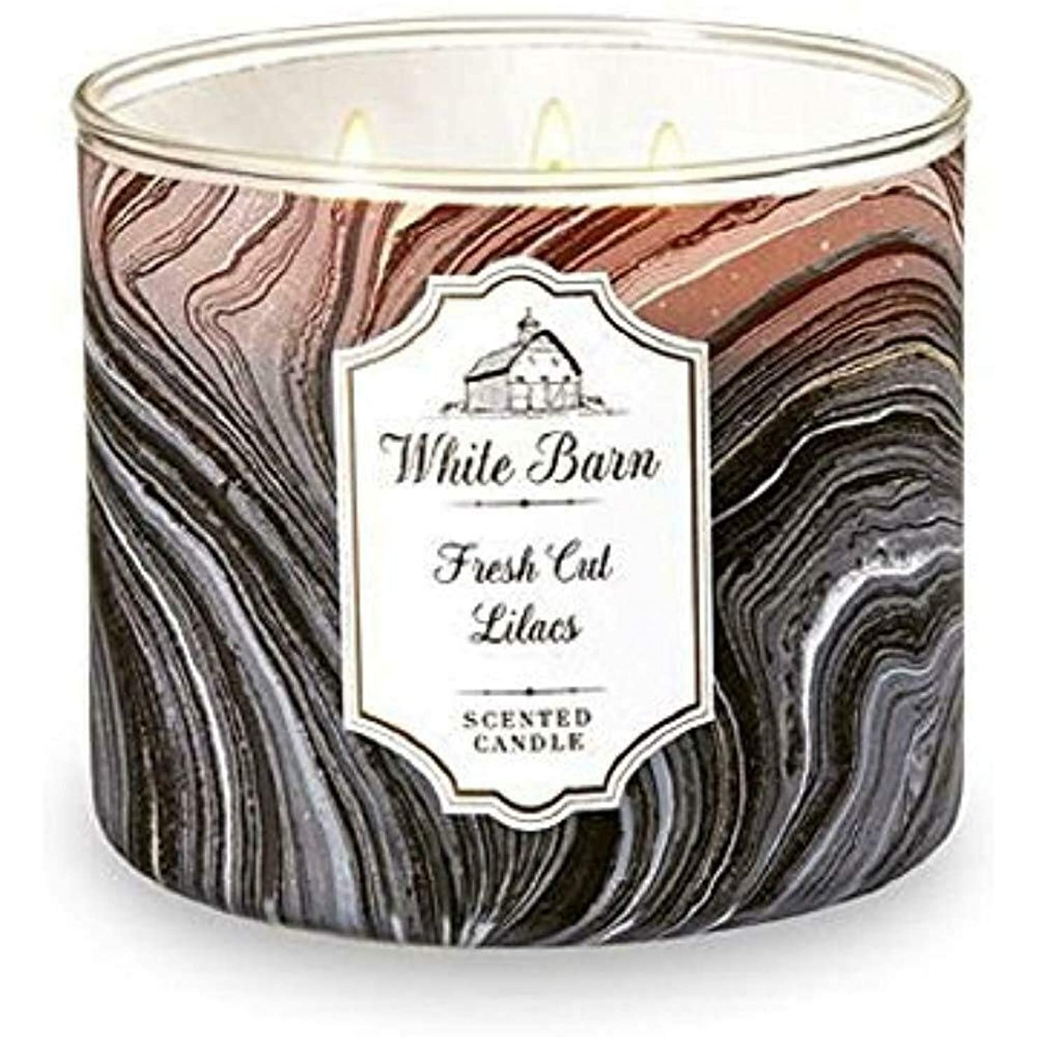 迷彩重要な一致するWhite Barn Bath & Body Works Fresh Cut Lilacs 3 Wick scented candle
