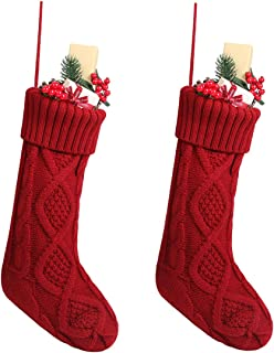 Free Yoka Cable Knit Christmas Stockings Kits Solid Color Burgundy Red Classic Decorations 18'', Set of 2