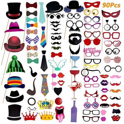 Comius 90 PCS Photo Booth Props, Accessori Fai da Te Colorati Occhiali Baffi Labbra Farfallino Cappelli su bastoni per Matrimonio Partito Natale Compleanno