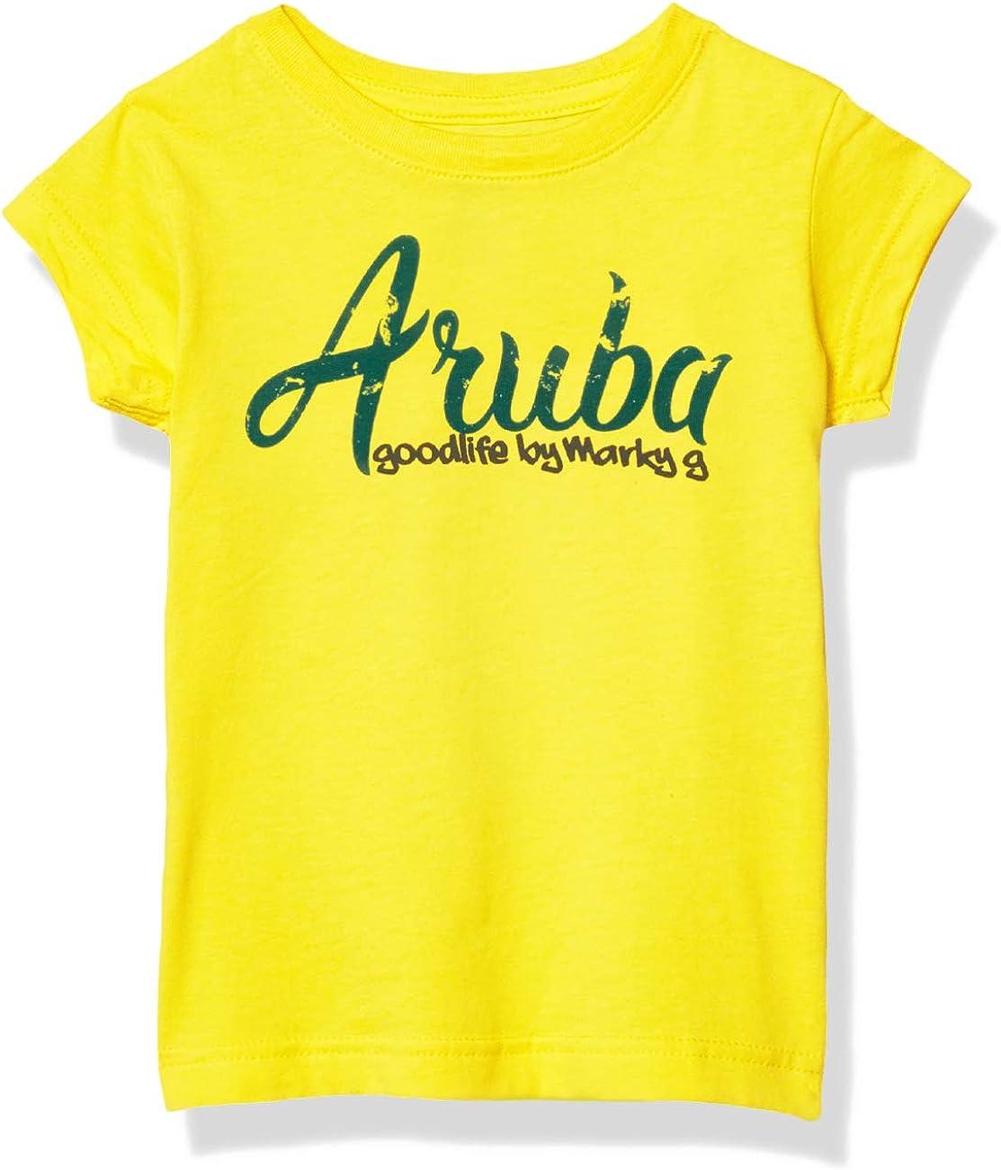 Marky G Apparel Girls' Printed Aruba Graphic Cotton Jersey Short Sleeve Tee