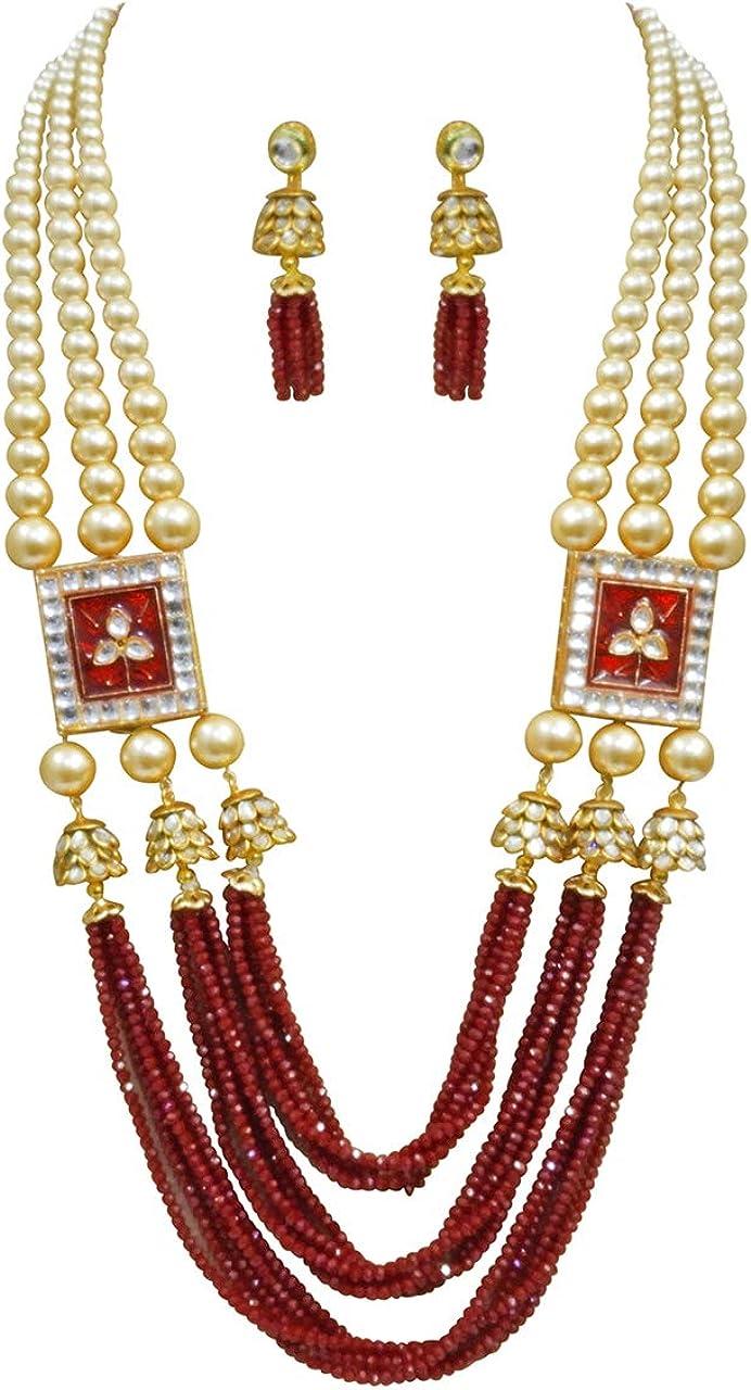 My Ethnic Desire Traditional Necklace Jaipuri Jhumki Green Beaded Meenakari Jewelry Set