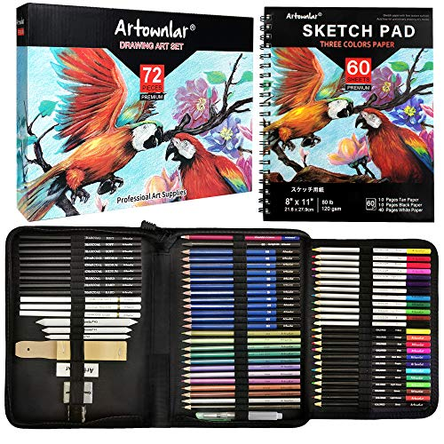 Artownlar 72 Pack Drawing Set with 3-Color Sketchbook | Sketching and Coloring Pencils Kit for Artist, Adults, Kids, Beginners | Art Supplies with Graphite, Charcoal, Watercolor, Colored Pencils