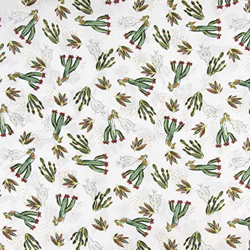 Mooi leven. Bekleding stof blouse linnenlook cactus bladeren wit groen rood 1,40m breedte