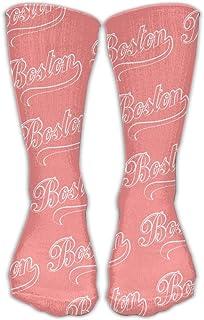 Bigtige, Hombres Mujeres Classics Crew Calcetines Boston Pink Calcetines deportivos personalizados 50cm Long-All Season