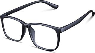 Blue Light Blocking Glasses for Women Men - Upgraded Triple Layer Anti Blue Ray Reading Glasses, Stylish Square Nerdy Frame Computer Gaming Glasses for Men & Women, Black