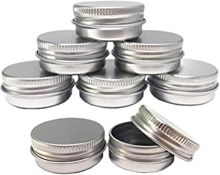 Aluminum Tin Jars, Cosmetic Sample Metal Tins Empty Container Bulk, Round Pot Screw Cap Lid, Small Ounce for Candle, Lip Balm, Salve, Make Up, Eye Shadow, Powder (12 Pack, .5 Oz/15ml)