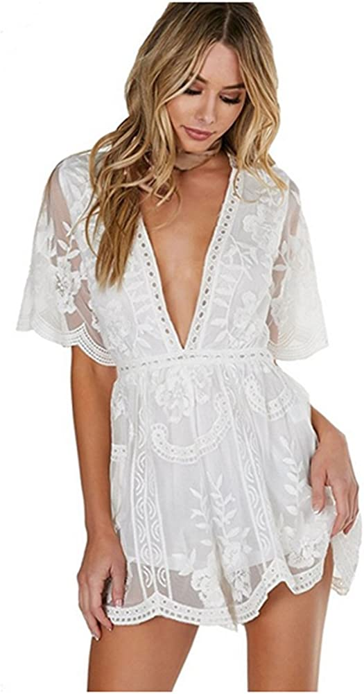 Eleter Women's New life Deep V-Neck Atlanta Mall Lace Dress Long Sleeve Romper Short