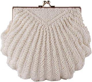 Umhängetasche Damen Clutch Damen Clutch Bag Abend Clutch Hochzeit Braut Tote Pearl Perlen Mode Shell Chain Party Bag