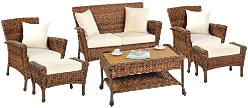 W Unlimited 1529-OT-SET6-02 Rustic Collection Outdoor Garden Patio 6-PC Bistro Furniture Set, Brown