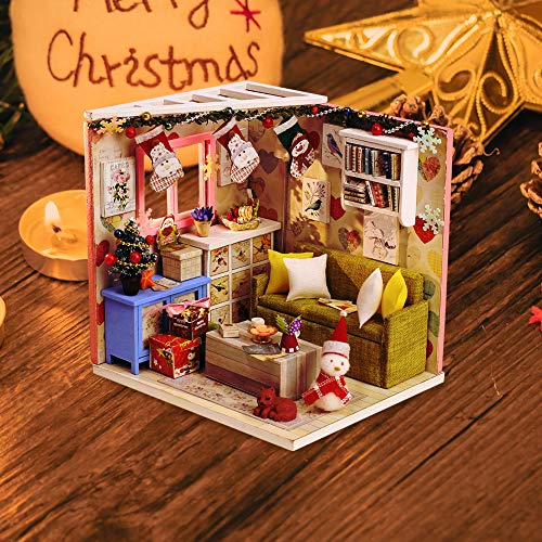 ITODA Christmas Handcraft Doll house Kit Miniatures 3D Craft Puzzle Handmade DIY Gift Kit for Kids Adults Teens Dollhouse Furniture Set Educational toys for Birthday Home Parent-child Game School
