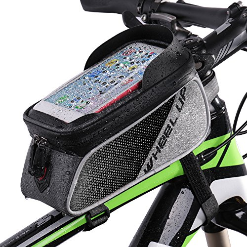 Betuy Fahrrad Rahmentasche Wasserdicht, Fahrradtasche Handytasche Oberrohrtasche mit Sonnenblende TPU Touchscreen Fahrrad Handyhalter für Smartphones bis 6.0 Zoll