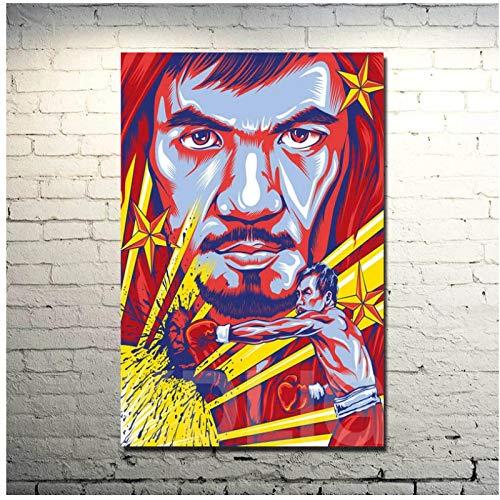 Manny Pacquiao Boxer Star Art Poster Print Boxing Sport Pictures para la decoración de la sala de estar-60x90cm Sin marco