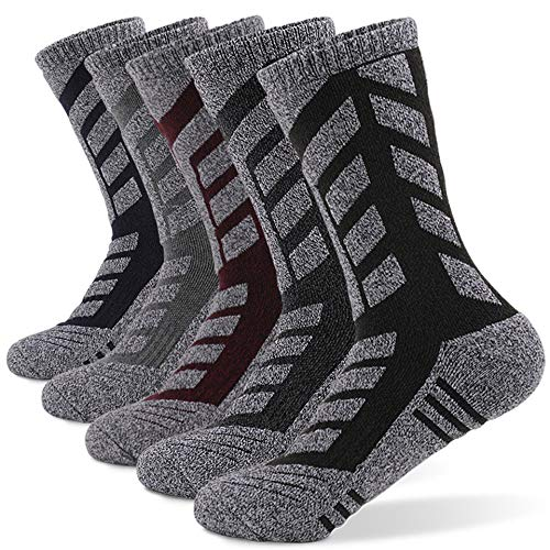 Soymen 5 Pairs Men's Winter Ski Hiking Socks,Outdoor Sports Running Trekking Cycling (5 colors, XL-Size: 9.5-12.5(Men))