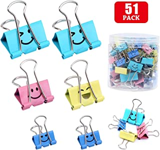 Binder Clips, Limque Paper Clips,Paper Clamps with Colored Cute Hollow Smiling Face,51 Pcs Assorted Size Clips, for Office,Teacher Gifts and Kitchen, Binder Clips Small/Medium/Larger