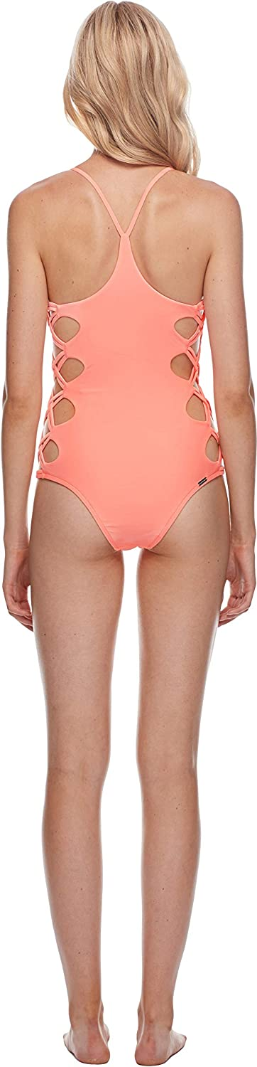 Body Glove Smoothies Crissy Solid One Piece Swimsuit with Strappy Side Detail, Smoothies Snow, Large