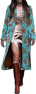 TRENDINAO Womens TrenchCoat Plaid Overcoat Winter Fashion Street Graffiti Print Style Lattice Long Woolen Jacket