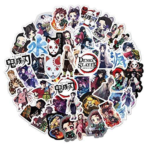 Elibeauty Demon Slayer Aufkleber, Anime Laptop Aufkleber, Skateboard, Snowboard, Auto, Fahrrad, Gepäck, Dekoration, für Kinder, Teenager, Erwachsene, 50 Stück