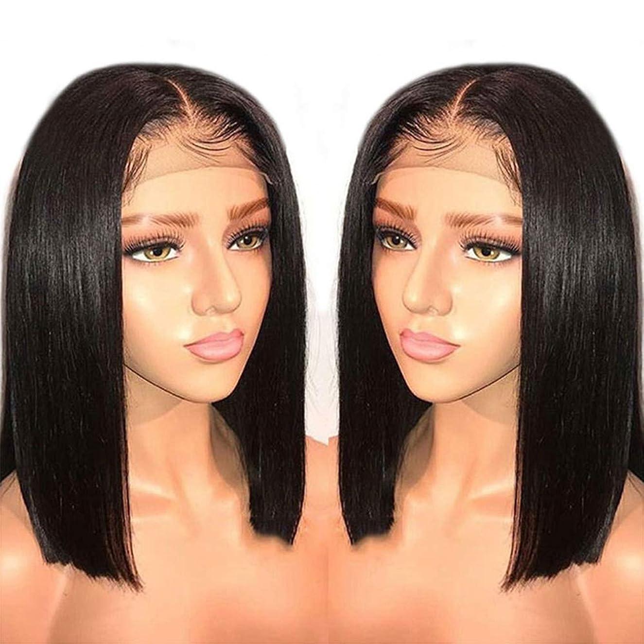 口実現実完了150%密度360レース前頭閉鎖かつらグルーレスレミーの毛髪の周りのかつら短い髪のかつら